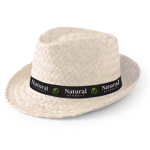 Hoed van stro bedrukken naturel