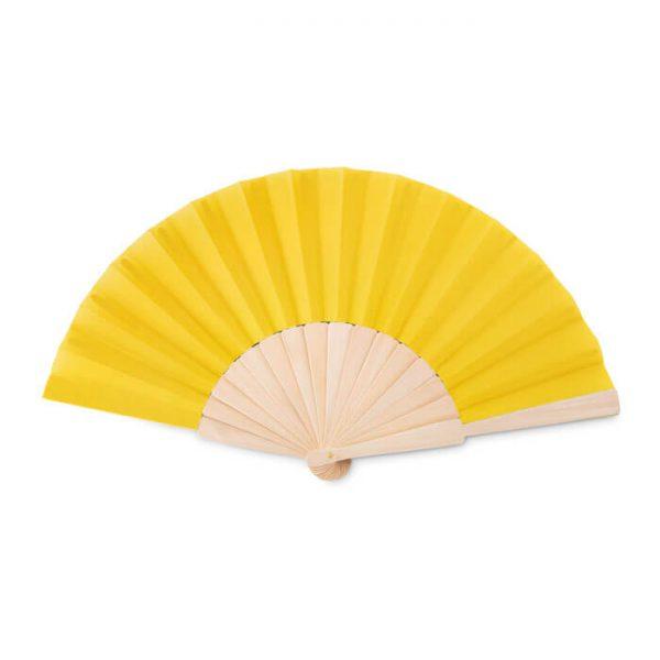 Houten waaiers bedrukken geel