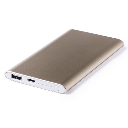 Powerbank 5000mah slank design bedrukken goud