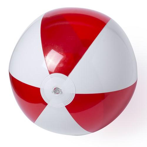 Strandbal tweekleurig 28cm bedrukken rood