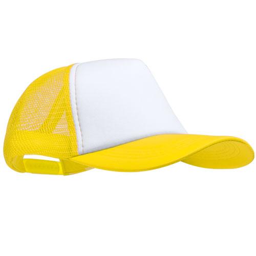 Trucker cap 5 panel met witte voorkant bedrukken geel