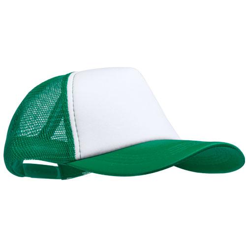 Trucker cap 5 panel met witte voorkant bedrukken groen