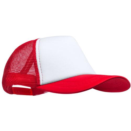 Trucker cap 5 panel met witte voorkant bedrukken rood