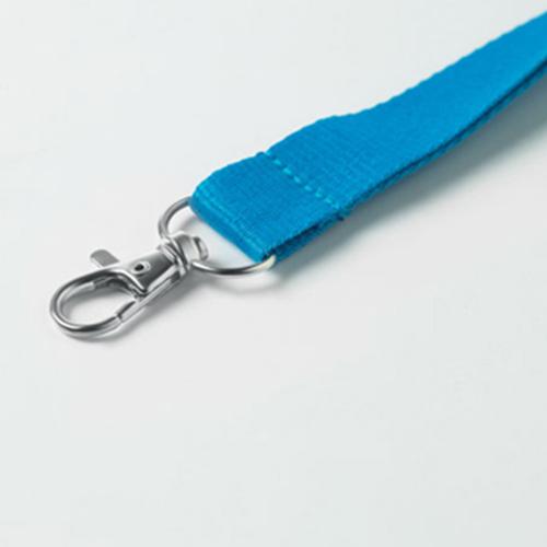 Keycord met metalen haak blauw
