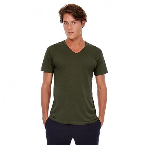 V-hals t-shirt biologisch bedrukken