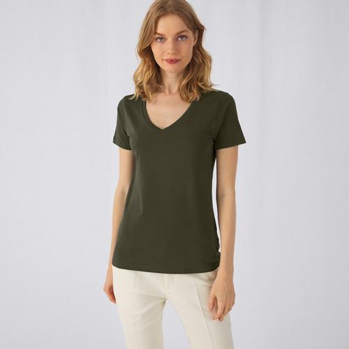 V-hals t-shirt biologisch dames bedrukken