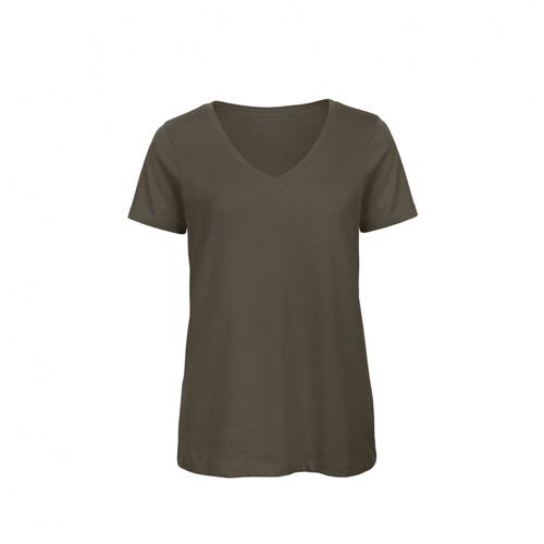 V hals t-shirt biologisch dames donkergroen