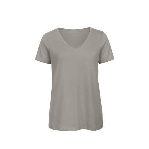 V hals t-shirt biologisch dames grijs