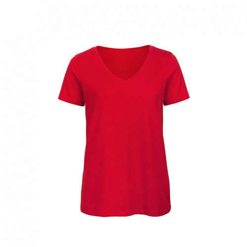 V hals t-shirt biologisch dames rood