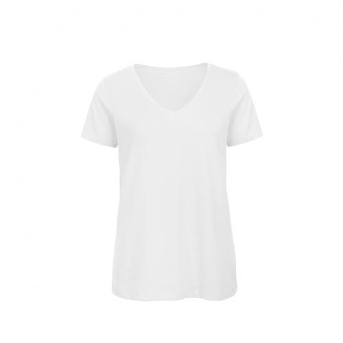 V hals t-shirt biologisch dames wit