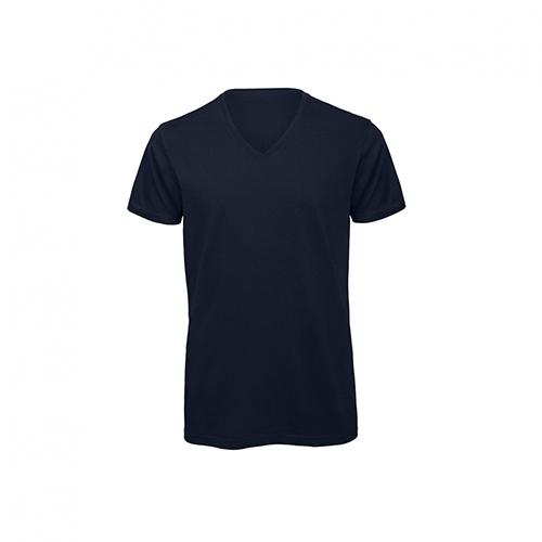 V hals t-shirt biologisch donkerblauw