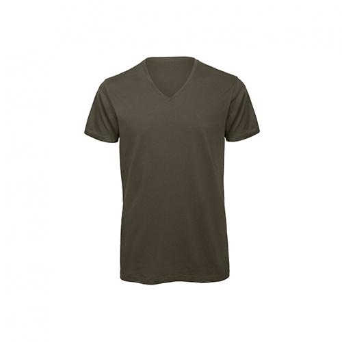 V hals t-shirt biologisch donkergroen
