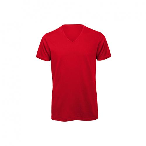 V hals t-shirt biologisch rood