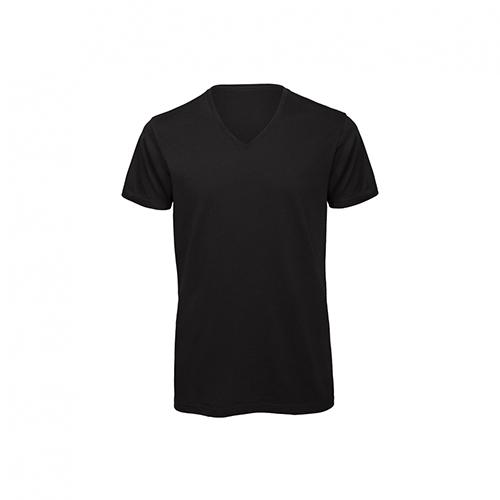 V hals t-shirt biologisch zwart