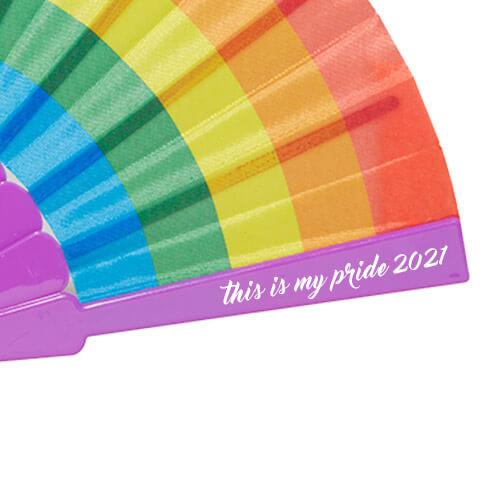 Waaiers bedrukken regenboog drukpositie met logo