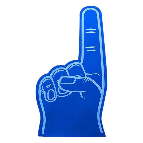 Foam hand wijs vinger blauw