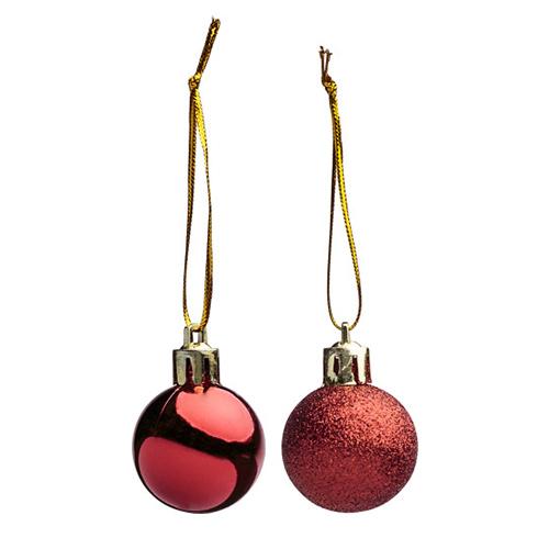 Kerstballen 2st glitter glans rood