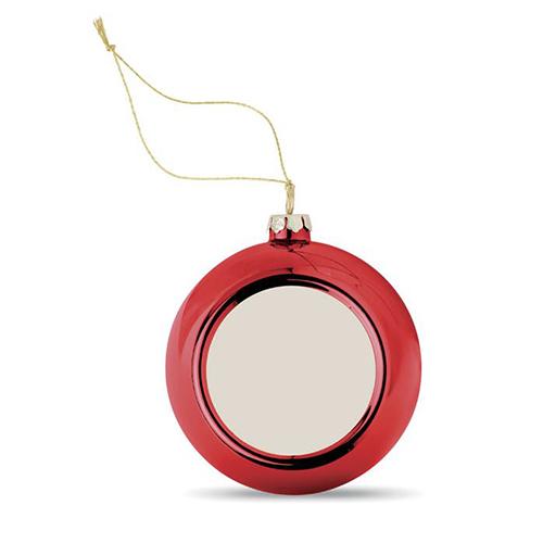 Kerstballen hoogglans rood logo