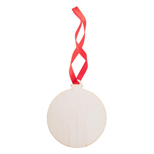 Kerstballen hout bal rood lint