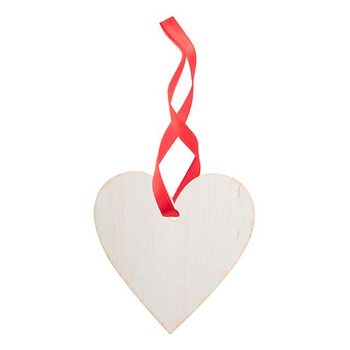 Kerstballen hout hart rood lint