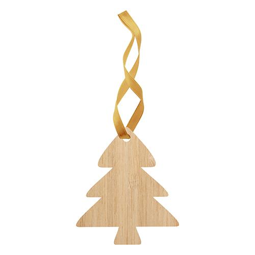 Kerstballen houten kerstboom gouden lint