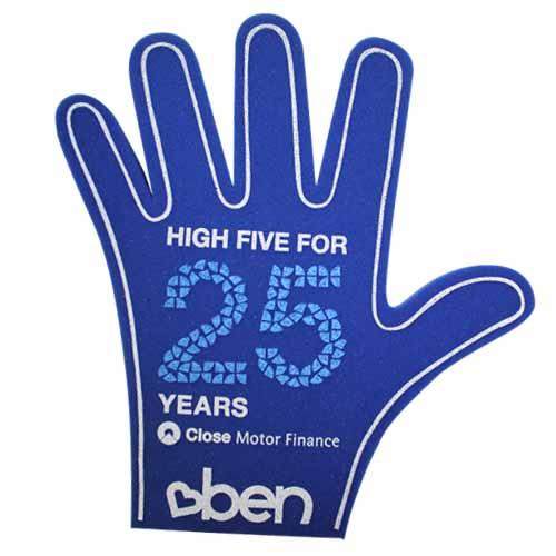 Schuim hand open blauw