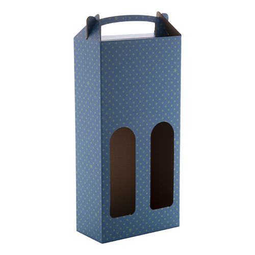 Wijnbox d 2 flessen blauw