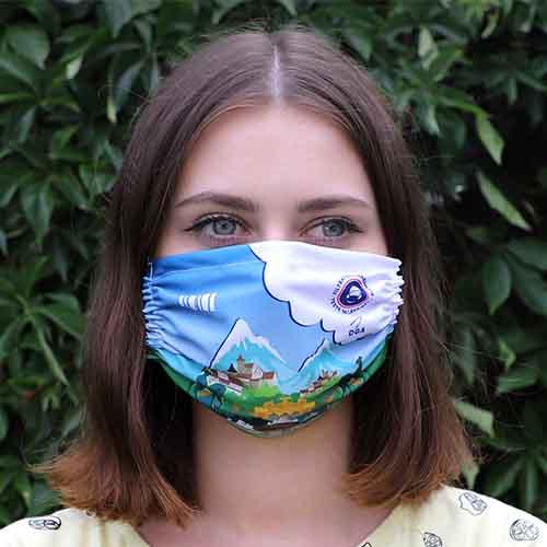 Wit sublimatie mondmasker sfeerfoto