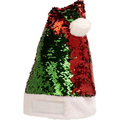 Kerstmuts pailletten rood groen