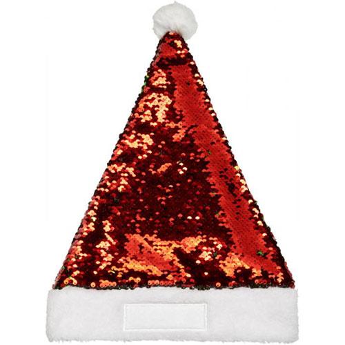 Kerstmuts pailletten vooraanzicht rood