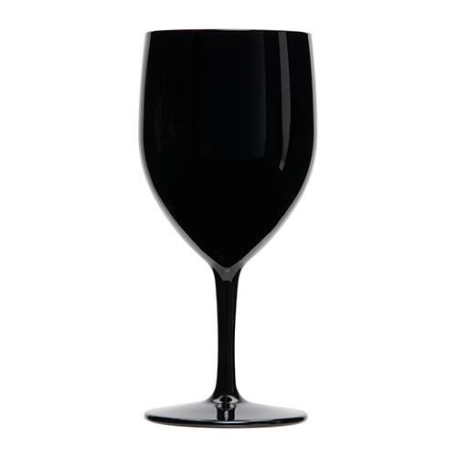Kunststof wijnglas vooraanzicht zwart 27cl