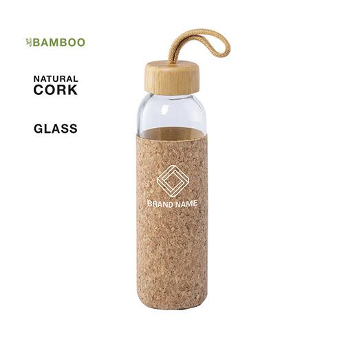 Glazen waterfles met bamboo