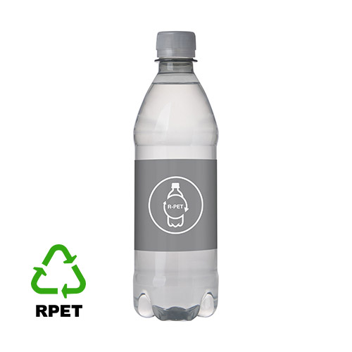 RPET waterflesje 500ML draaidop grijs logo