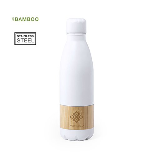 RVS fles bamboe sfeer