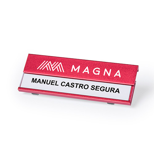 Aluminium naamplaatje rood sfeer